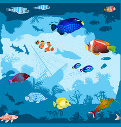 Seamless pattern with hand drawn fish and corals vector