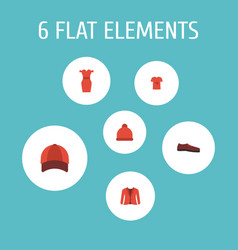 set of dress icons flat style symbols with t-shirt vector image