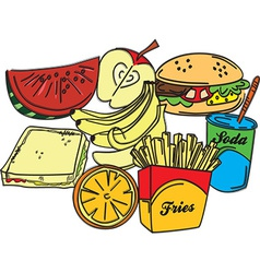 Set of food items vector