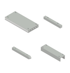 Set the iron concrete products isometric vector