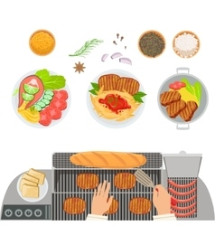 Stove cooked dishes spices and hands of the cook vector