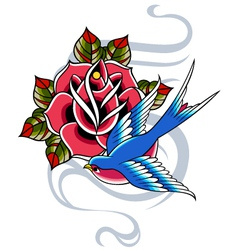 swallow and rose emblem vector image