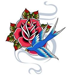 Swallow and rose emblem vector