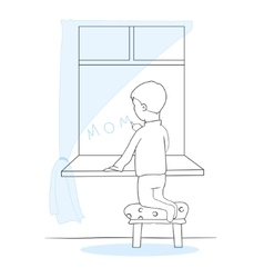 The little boy writes mother at a window Lonely vector