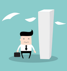 tired businessman having a lot of work to do vector image