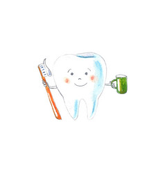 tooth with toothbrush and green cup vector image