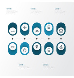 Transport outline icons set collection of bogie vector