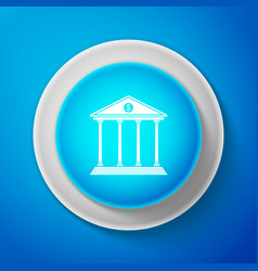 white bank building icon on blue background vector image