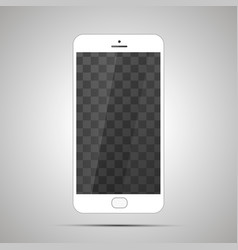 white realistic glossy smartphone with transparent vector image
