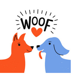 With couple dogs sniffing each other red heart vector