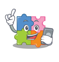 with phone puzzle character cartoon style vector image