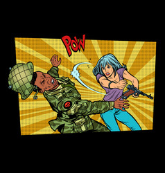 woman vs man civil beats invader military soldier vector image