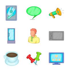 work location icons set cartoon style vector image
