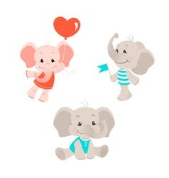 Baby elephant cartoon characters set vector image vector image
