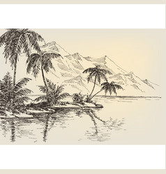 beach drawing palm trees and mountains vector image vector image