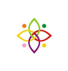 beauty colorful connection shape logo vector image