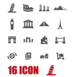 grey landmarks icon set vector image vector image
