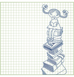 schoolgirl sitting on the heap of books vector image