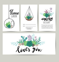 succulent plant greeting card invitation flower vector image