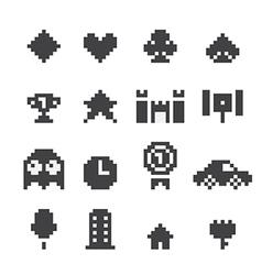8 bit icons set vector image vector image