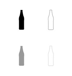beer bottle black and grey set icon vector image vector image