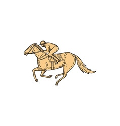 Jockey Horse Racing Side Mono Line vector image