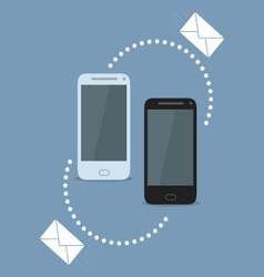 Smartphone sharing SMS vector image vector image