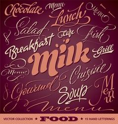 Food menu headlines set vector