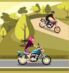 man and woman riding on their motorbikes vector image