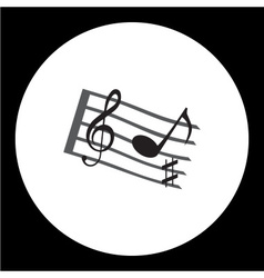 Music stave with music notes and treble clef vector