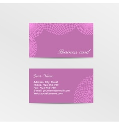 Pink business card decorated lacework vector image vector image