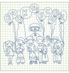 schoolchildren and their teacher vector image