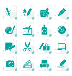 stylized graphic and web design icons vector image