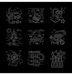Detailed white line scuba diving icons set vector image