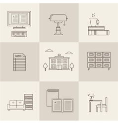 flat library icons vector image