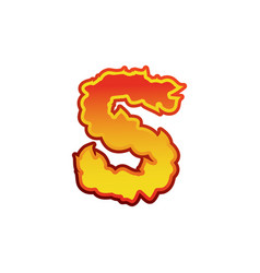 letter s fire flames font lettering tattoo vector image vector image