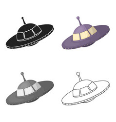 ufo icon in cartoon style isolated on white vector image vector image