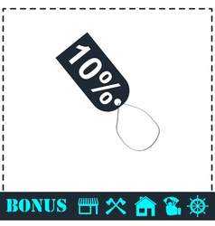 10 percent discount icon flat vector