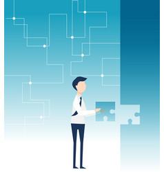 A businessman achieves goal fulfiling jigsaw vector