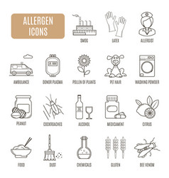 Allergen icons set of pictograph vector