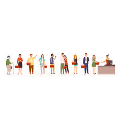 Angry men and women standing in line or queue vector
