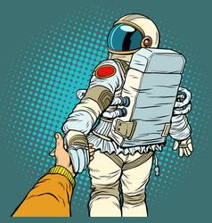 Astronaut space travel follow me concept couple vector