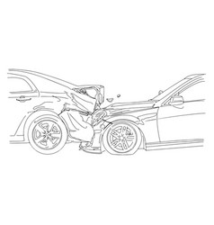 Auto accident involving two cars vector