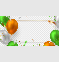 Balloons frame in tricolor indian flag vector