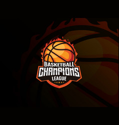 basketball sport logo design vector image