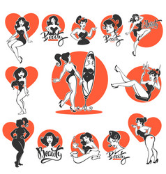 Beauty and sexy large collection of pinup girls vector
