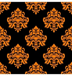 Black and orange seamless floral pattern vector