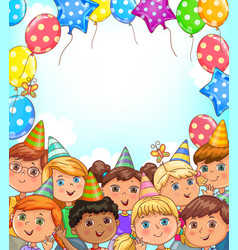 blank holiday banner with balloons and funny kids vector image