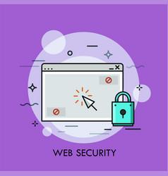 Browser window clicking cursor and padlock vector