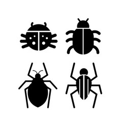 Bug icon set isolated insect vector